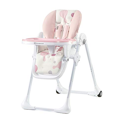 kinderkraft seggiolone pappa yummy, rialzo da sedia, regolabile, pieghevole, alzasedia bambini, 6 mesi - 3 anni, rosa