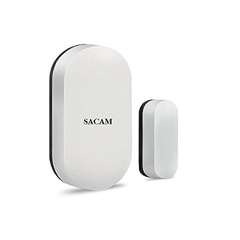 Avant de porte fenêtre sans fil Contact magnétique Sensor, Alex Accessoires sans fil Fonctionne avec Sacam Alexa Smart Home Système d'alarme de sécurité DIY Kit, à piles (Blanc)