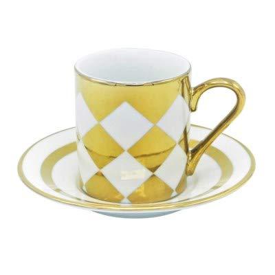 Porzellan Porzellan Espresso Turkish Coffee Demitasse 6er Set Tassen + Untertassen Metallic Gold fein Demi-tasse, 3 oz, 100 ml Diamonds Demi Demitasse