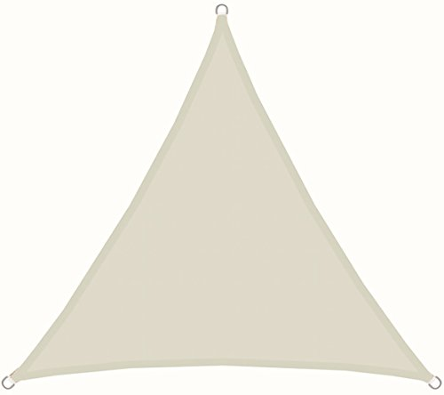 AMANKA Voile d'ombrage 3x3x3m en Polyester Hydrofuge Protection du Soleil UPF50+ Toile Triangulaire XL Ombre Jardin Beige