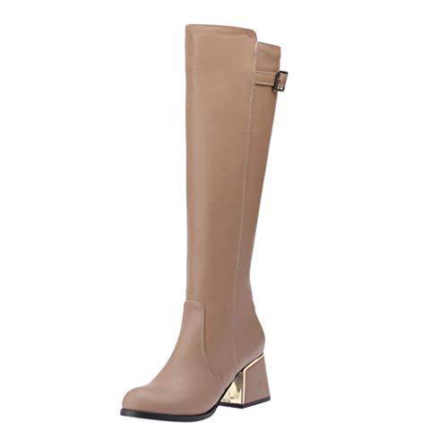 COZOCO Damen Einfarbig Hohe Stiefel Schnalle Quadrat Ferse Stiefel Freizeit Langschaftstiefel wasserdichte Kunstleder Stiefel(Beige,42 EU)