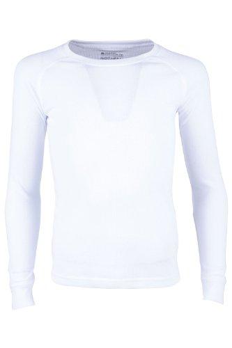 Mountain Warehouse Talus Kinder-Rundhalsoberteil Unterhemd Thermounterwäsche Skiunterwäsche Langarmshirt Weiß 128 (7-8 Jahre)