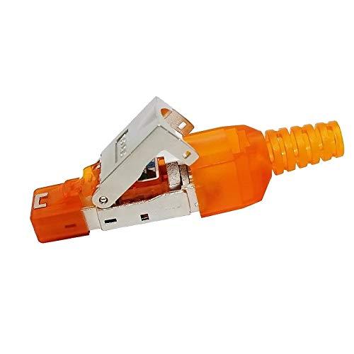 KANEED-Ethernet-Kabel unterstützt Cat6 / 5e / 5, 550MHz, Werkzeuglose Montage RJ-45-Stecker Modularstecker, STP Cat6a Gigabit-Abschirmung (Orange) (Farbe : Orange) - 550 Mhz Rj 45 Kabel