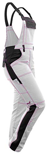 strongAnt® - Damen Arbeitshose Arbeits-Latzhose Weiß Pink für Frauen Malerhose komplett Stretch mit Kniepolstertaschen Baumwolle - Weiß-Schwarz/Pinke Naht 40