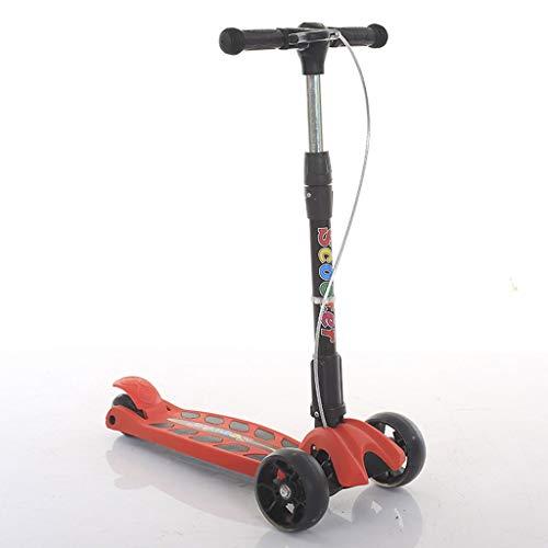 Kinder-Roller 3-Rad-T-Bar Höhenverstellbarer Griff Tretroller mit PU-Blitzrad, faltbar und tragbar, Geeignet für Kinder von 3 bis 6 Jahren.