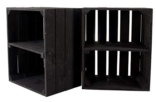 2X Vintage-Möbel 24 große Neue Schwarze Obstkiste 50cm x 40cm x 30cm Apfelkiste Schuhregal...