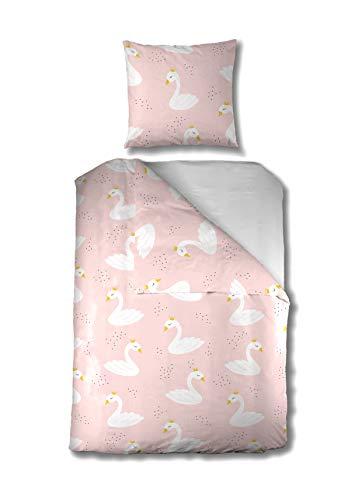 Aminata Kids Baby-Bettwäsche-Set 100-x-135-cm Schwan - Mädchen - Kinder-Bettwäsche Love aus Baumwolle - rosa, weiß - Marken-Reißverschluss & Öko-Tex