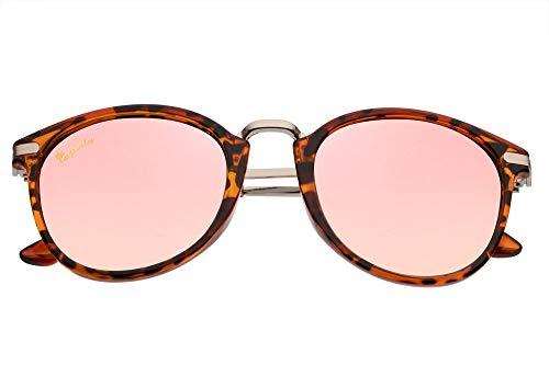 Capraia Molinara Retro Round Classic Sunglasses Ultra Light High Quality TR90 Shiny Leopard Frame and Red Mirrored Polarised Lenses UV400 protected Mens Womens