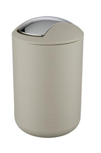 Wenko 21222100 Schwingdeckeleimer Brasil Taupe L - absolut bruchsicher, Fassungsvermögen 6.5 L, Thermoplastischer Kunststoff (TPE), 19.5 x 31 x 19.5 cm, Taupe (Taupe Bad)