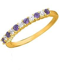 Silvernshine 0.15 Ct Round Cut Amethyst & Sim Diamond Wedding Band Ring In 14KT White Gold PL