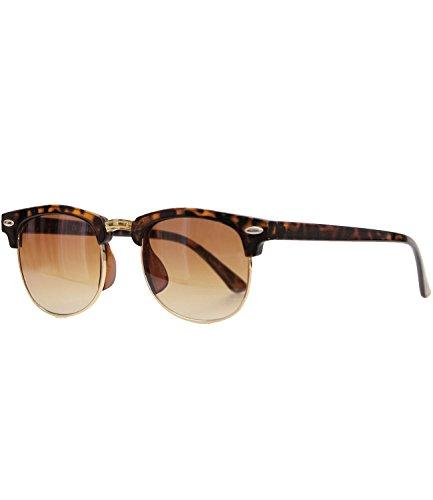 Caripe Sonnenbrille Retro Vintage Kinder Mädchen Jungen verspiegelt - klubbakid (One Size, 411 - Hornstyle - braun Verlauf)