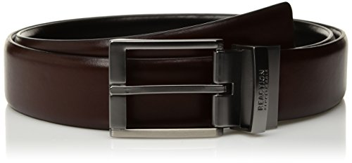 Kenneth Cole REACTION Men's Reversible Casual Belt, Black/Brown Stitch, Large