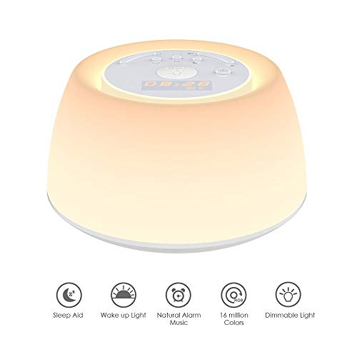 Wake Up Light, Sleep Aid Night Light mit Sunrise Simulation Alarm Clock, Snooze Funktion, 256 Farben, Dimmable Bedside Lamp for Bedroom, Living Room, Baby Room