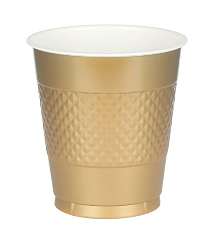 (Amscan International 355 ml Cup Plastic, Gold Sparkle)