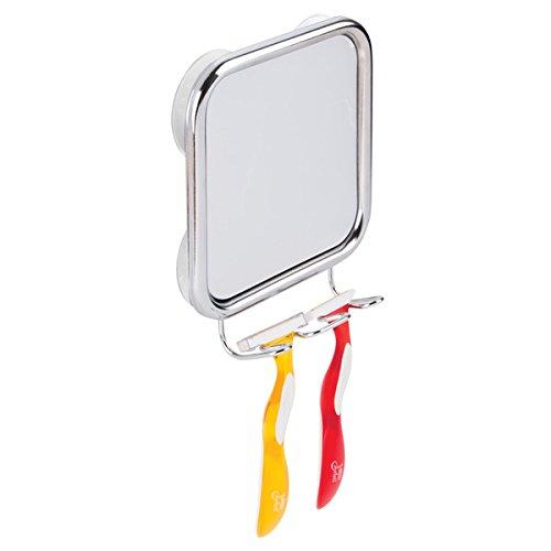 mDesign Badezimmer Spiegel mit Saugnapf - Farbe: silber (chromiert) - aus Metall - Spiegel für Bad...