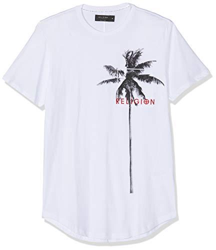 Religion Herren Pocket Palm Tee T-Shirt, Weiß (White 014), Large - Gestickte Grafik Tee