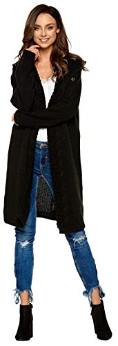 Lemoniade hochwertiger, modischer Cardigan mit Kapuze Knielang - Strickjacke Damen Jacke lang Mantel Strickmantel (LS213 900552 schwarz)