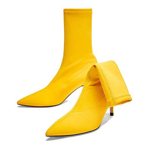 JRenok Damen Socken Stiefel Stretch-Stoff Highheels auf Mitte Kalb Schuhe schlüpfen wies Fuß Knöchel Stiefel Herbst Winter Stilettos - Tragetaschen Winter Stiefel