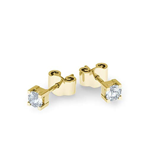 21Diamonds Damen-Ohrstecker Bangkok mit Diamant 0.1 ct , 18 Karat (750) Gelbgold Ohrringe