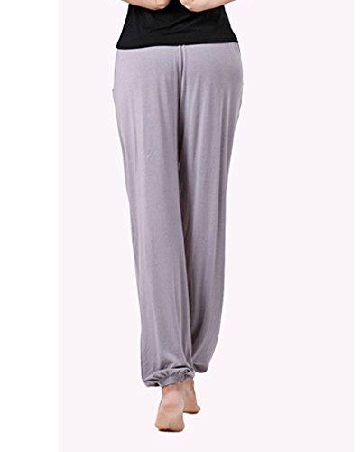 Confortable Femme Yoga Culotte Bouffante Pantalons Décontracté Harem Pantalon Avec Poche Gris Foncé