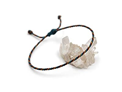 Bracelet Bleu Pétrole Prune & Marron Clair Simple | Fin Cordon Souple de 2 mm | Tressé Avec Du Fil Ciré | Ajustable Unisexe et Résistant à l' Eau | Réf.#Tri10