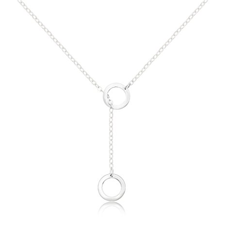 65bbe494d KristLand 925 Sterling Silver Fashion Necklace Double Hoop Pendant  Adjustable Delicate Choker for Women Lover