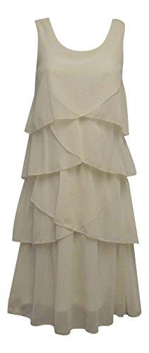 New VTG 1920's Cream Gatsby Deco Downton Abbey Charleston Chiffon Flapper Kleid Gr. UK 16, Gelb - Cremefarben