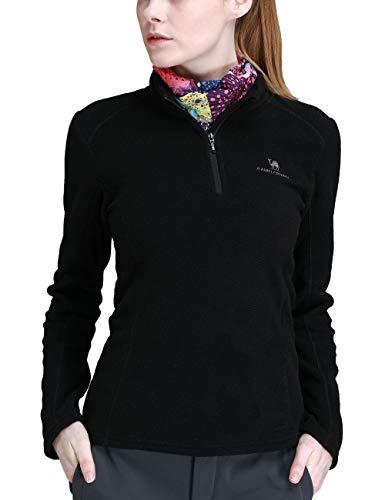 Camel Damen Half Zip Fleecejacke für Damen Pullover Langärmliges Sweatshirt Leichtes Outdoor Skirolli Fleeceshirt Schwarz XXXL