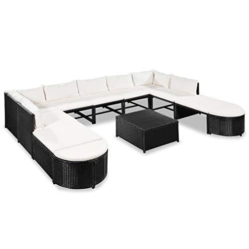 Tidyard- Gartensofa-Set 32-TLG. Poly Rattan   2 x Sofa-Eckelement 5 x Sofa-Mittelstück 1 x Couchtisch 2 x Quadratische Ottomane 2 x Halbrunde Ottomane 9 x Rückenkissen 11 x...