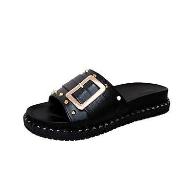 zhENfu donna sandali estivi in similpelle Abito casual Walking rivetto fibbia tacco basso Bianco Nero sotto 1in Black