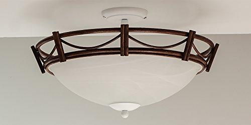 Deckenleuchte Korbleuchte Rattan Nussbaum-farbig Alabasterglas weiß Korblampe Deckenlampe Helios Leuchten (Nussbaum Körbe)