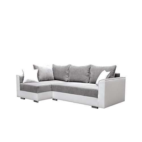 Eckcouch Lyford Ecksofa Modern Design Sofa, Couch, Schlafsofa, Polstergarnitur Farbauswahl, mit Schlaffunktion und Bettkasten Wohnlandschaft vom Hersteller (Seite: Links, Madryt 120 + Doti 91)