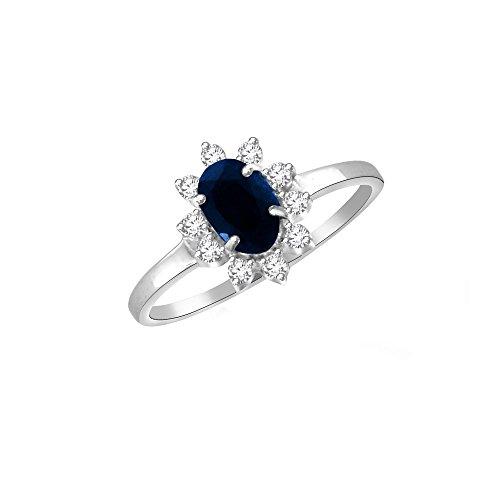 Sparkles diamanti 0.13ct e 0,55ct Blu Zaffiro Anello in oro bianco 14kt (GH, colore si Clarity)