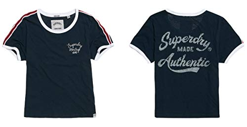 Superdry Damen Heritage Embroidery Ringer Box Pullunder, Blau (Eclipse Navy 98T), X-Small (Herstellergröße: 8) -