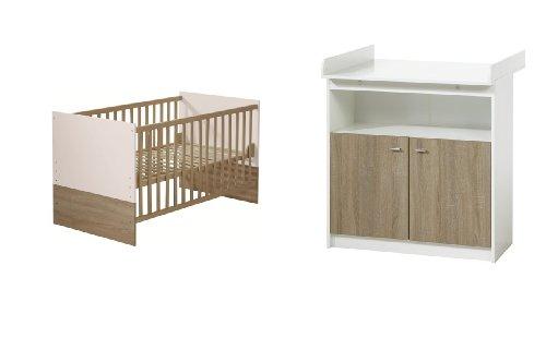 Preisvergleich Produktbild Roba 42491-42471 Kombination Wickelkommode und Bett Gabriella mit schmaler Wickelkommode