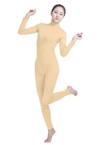 Erwachsene Langarm Rollkragen Body (Mädchen-Frauen gut passen Rollkragen Spandex Langarm zurück Reißverschluss Footless Ganzanzug (nude, L))