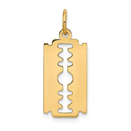 Ice Karat 14K Gelb Gold Rasierklinge Anhänger Charm Halskette Haushalt Karriere/Professional Werkzeug -