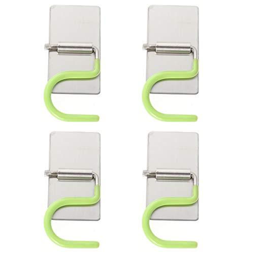 Bestonzon 4pz in acciaio inox holder punch-free autoadesivi mop holder wall mount mop scopa hook gancio portautensili rack per bagno e cucina (verde)