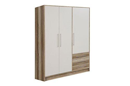 NEWFACE Jupiter Kleiderschrank 3-türig, 3 Schubkästen, Holz, eiche antik + weiß, 144.6 x 60 x 200 cm