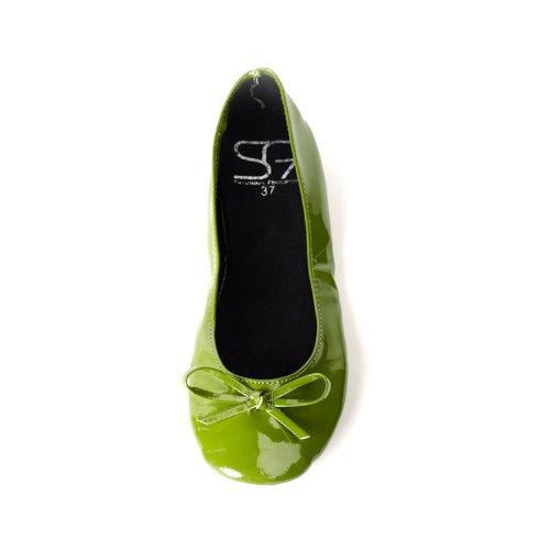 Chaussures Ballerines femme pliables avec ruban patent oliv vert disponibles dans les tailles jusquà Vert
