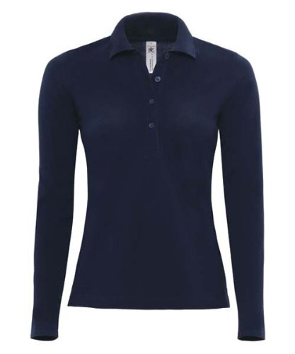B&C - Polo - Manches longues - Femme Bleu - bleu marine