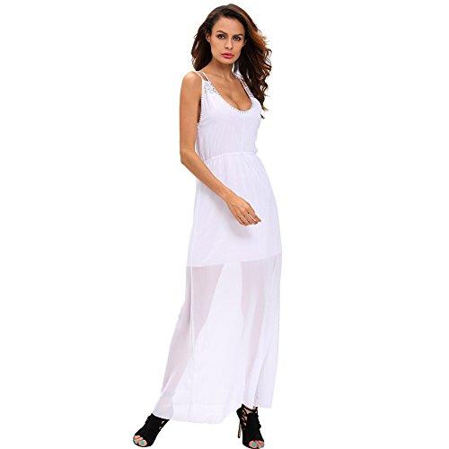 erica-donna-uscire-spiaggia-casuale-allentato-patchwork-maxi-abito-u-collo-maniche-paillettes-white-