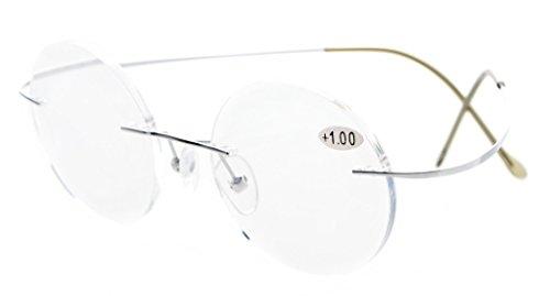 Eyekepper Titan Randlose Brillen Runde 46mm Kreis Optische Brillen Silber