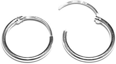 Joyería Arranview del niño 12mm de diámetro con peso medio Sleeper Pendientes de aro en plata de ley