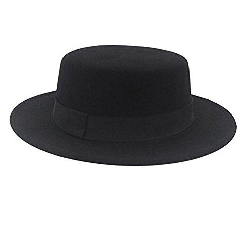 ASTRQLE Classic Schwarz Fashion Hut Fedora Flach Elegant Jazz Hüte Krempe Kirche Derby Cap ()
