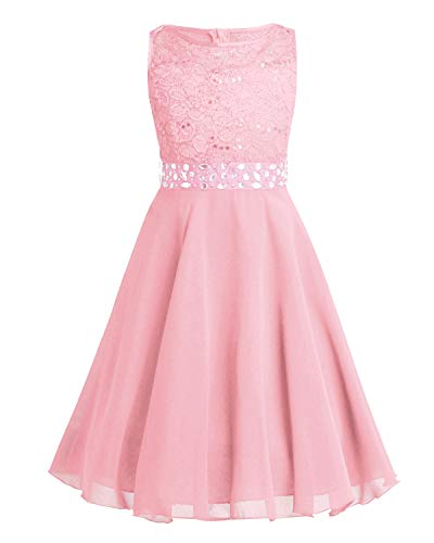 Tiaobug Festlich Mädchen Kleid für Kinder Prinzessin Spitzen Kleider Hochzeit Blumenmädchenkleid 92 104 116 128 140 152 164 Pearl Pink 128 (Mädchen Kleid Kind)