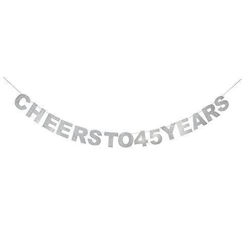 waway Cheers zu 45Geburtstag Banner Silber Glitzer Herz für 45. Jahrestag 45Jahre Alt Geburtstag Party Dekoration Supplies