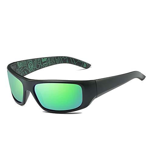 Gläser Polarisierte Sonnenbrille Teardrop Herren Sonnenbrille Klassisches Design UV Cut Cross & Brillenetui (Color : Grün, Size : Kostenlos)