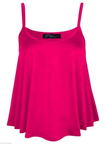 Elle Pour Femmes Uni Swing Cami à Bretelles Évasé Gilet sans Manches Top Plus Taille hop pink