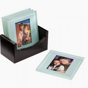 NEW PHOTO COASTER GLASS PHOTO PICTURE FRAME TABLE MATS SET